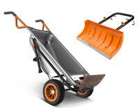 Worx 8-in-1 Wheelbarrow AeroCart & Snow Plow Combo + Worx WA0230 Aerocart Snow Plow