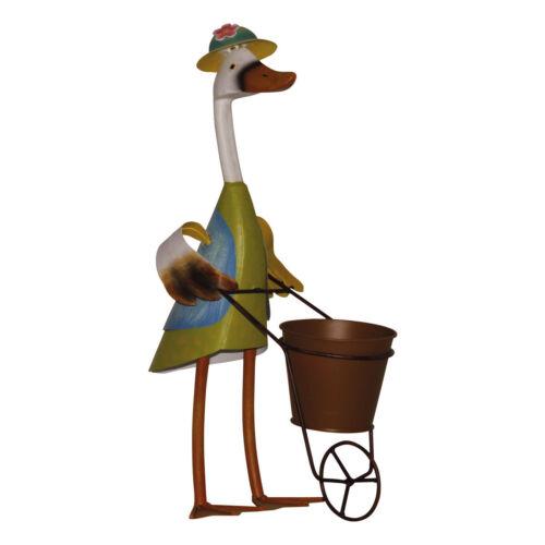 Dekofigur Canard brouette Chapeau Pot De Plantation Métal peinte à la main blechente