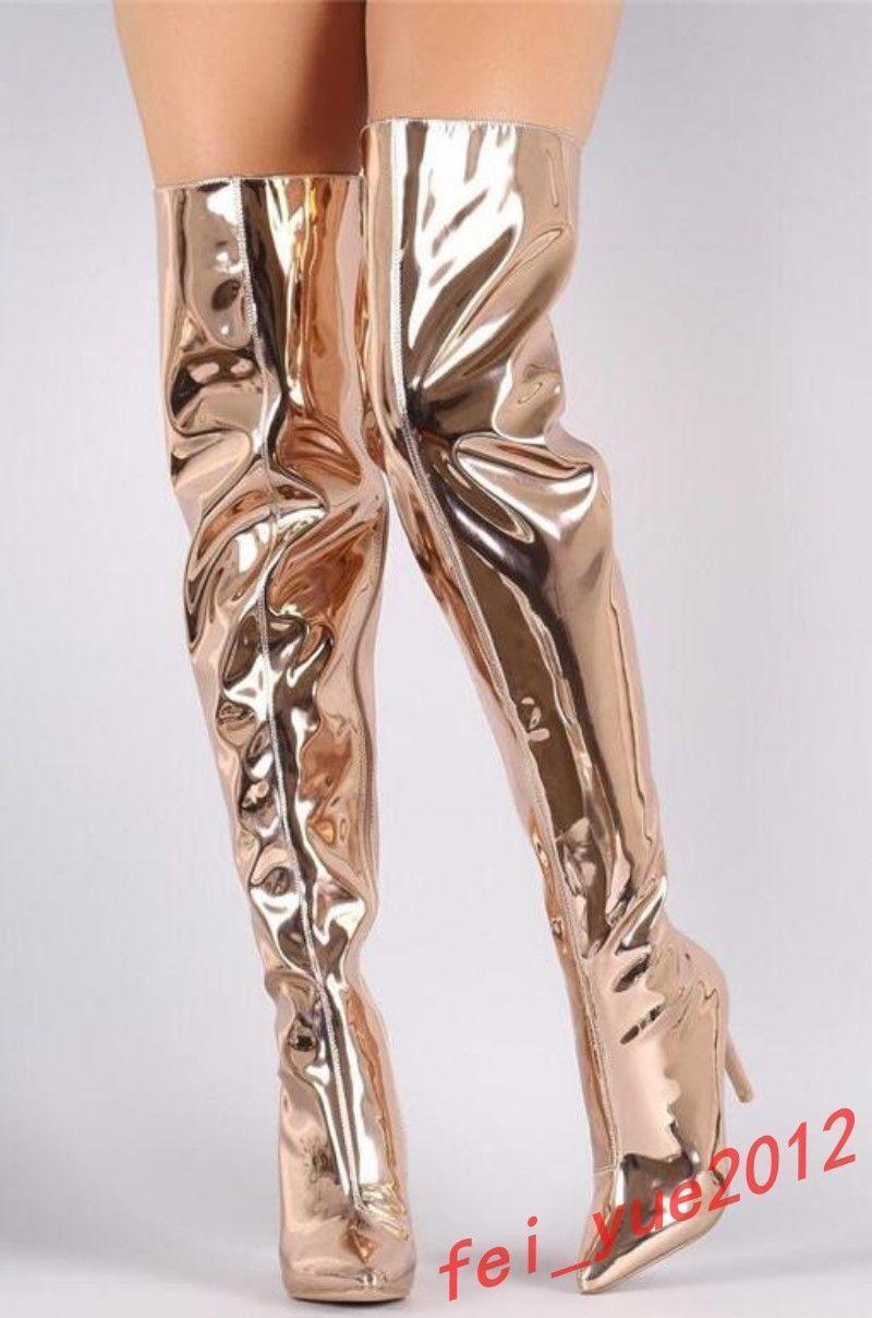 Women Bright Metallic Mirror Pointy Toe Thigh High Heel Heel Heel Over The Knee Boots shoes ef53be