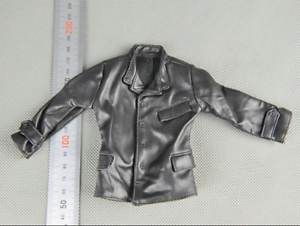 1//6 Scale Soldier Model Accessories Clothes Black Leather Coat Jacket