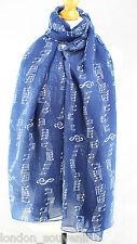 Ladeis Bufanda Hermoso Musical Piano Notas impresión bufanda chal Wrap Sarong Azul Marino