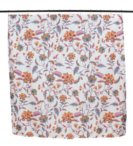 Mykonos Pink Aqua Orange White Fabric Shower Curtain Bright and Bold Colorful F