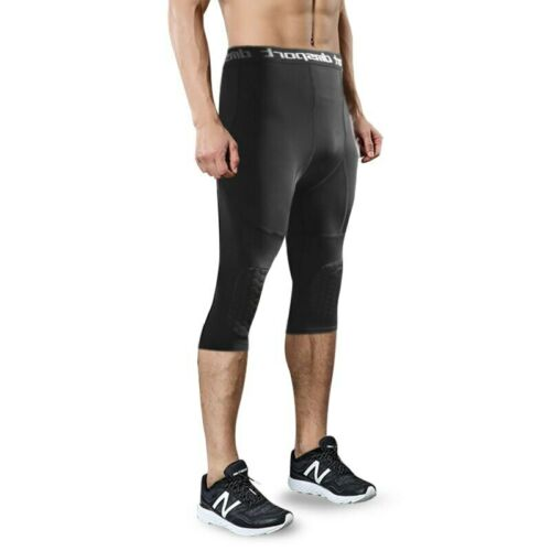 Men/'s Basketball Compression Padded Tights Three-Quarter Pants With Knee Pads