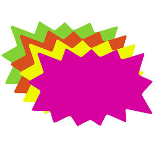 Details about 100 Small Blank Solar Star Burst Neon Fluorescent Retail Sale  Signs 25 ea Color aa99e4a0b