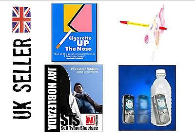 Street Magic tricks x 4 bundle. phone in bottle, shoelace, cig vanish, pen