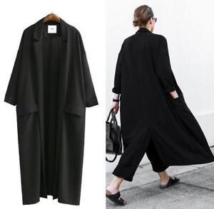 Long Parka Cardigans Kvinder Oversize Lapel Coat Casual Outerwear Sort Trench Y0XgYrp