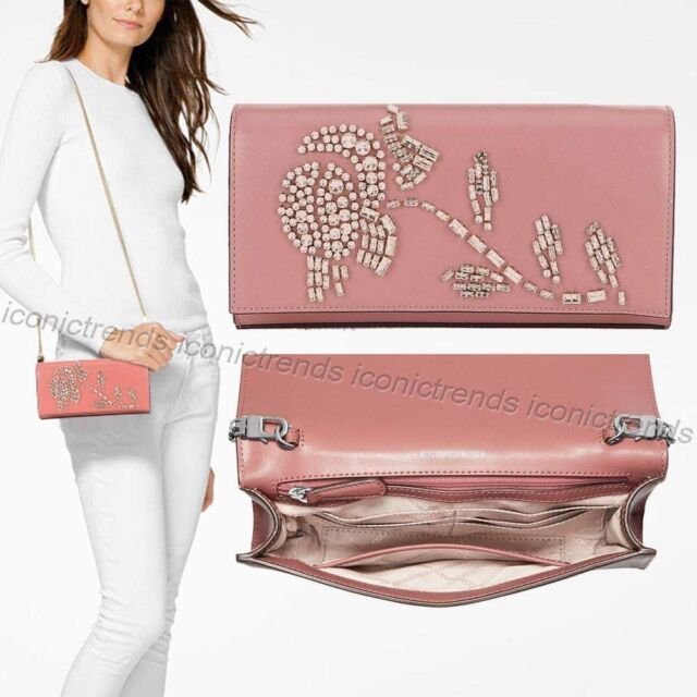 f2ef988a7ace NWT🌹 Michael Kors Bellamie Leather Large East West Clutch 30H8SI0C3Y Rose  Pink