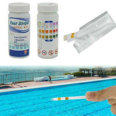 50 Pool Wasser Teststreifen 3 in 1 Schwimmbad Messung Alkalinität Chlor PH U7N3