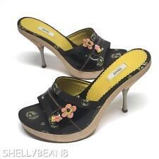 PRADA Wood Metal Heels Platform Slides w/ PINK FLOWERS Sandals Shoes 37.5 7 7.5