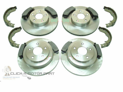 for SUBARU IMPREZA 2.0 TURBO /& WRX FRONT /& REAR BRAKE DISCS PADS HANDBRAKE SHOES