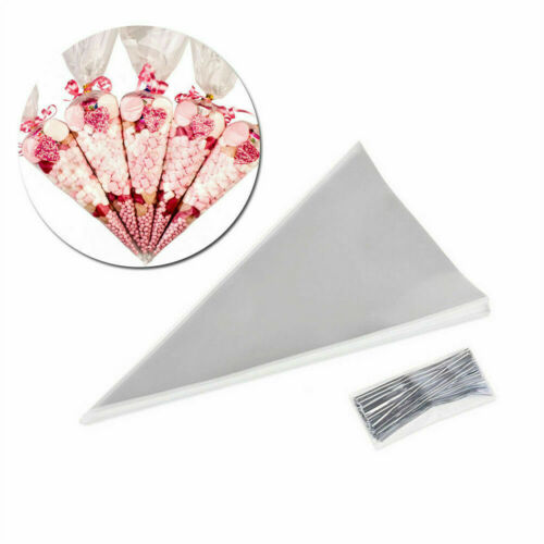 100//200//300//400PCS CLEAR Cone Bags FOOD SAFE for Sweet Candy Favour Large Bag