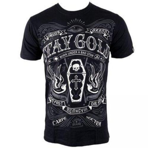 Camiseta Chico LIQUORBRAND Manga Corta STAY GOLD Negro Tattoo Style