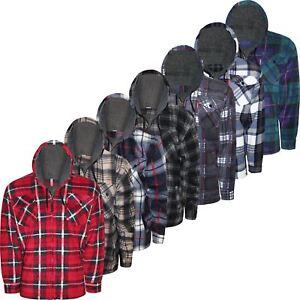 Mens-Sherpa-Fur-Fleece-Lined-Hoodie-Jacket-Lumberjack-Hooded-Work-Padded-Shirt