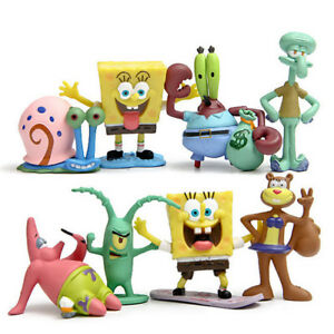 8Pcs-Spongebob-Squarepants-Fish-Tank-Aquarium-Ornament-Decoration-Figure-Toys