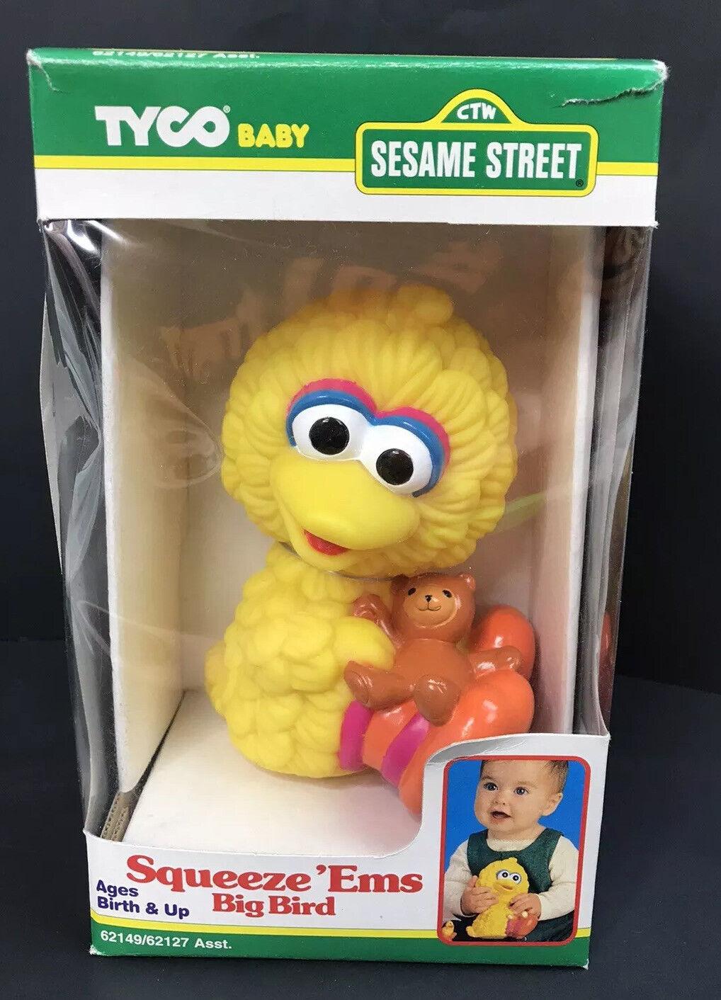 1995 Jahr (TYCO Baby)  SESAME Straße  (Squeeze 'Ems)  groß BIRD  Spielzeug, RARE