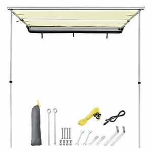 6.6x8.2' Awning with LED Light Retractable Pull Out Tent Shelter Camping Beige