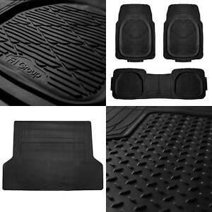 4pc All Weather Floor Mats & Cargo Set Black Tough Rubber Deep Dish For Car