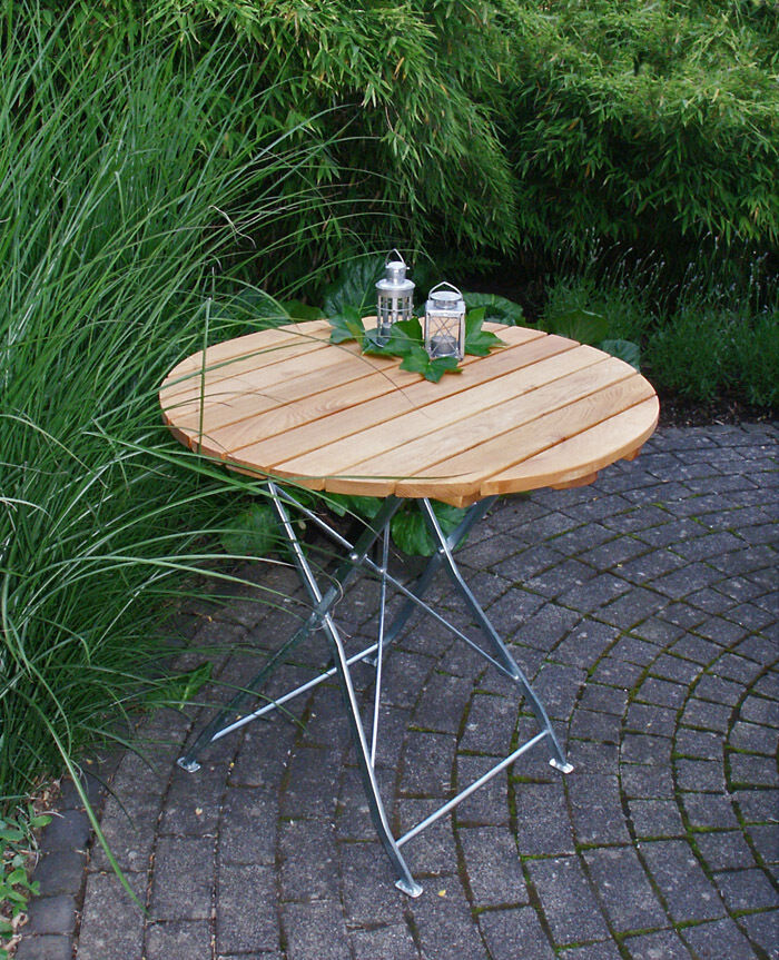Gartentisch Gartentisch Gartentisch Bad Tölz Klapptisch 77 cm rund verzinkt Garten Balkon Terrasse Tisch 5762b0