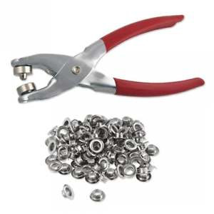 """1//4/"""" Grommet Eyelet Setting Pliers with 100 Silver Grommets"""