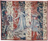 'baille Des Roses' Medieval Belgian Heavy Tapestry Wall Hanging 30 X 36.5