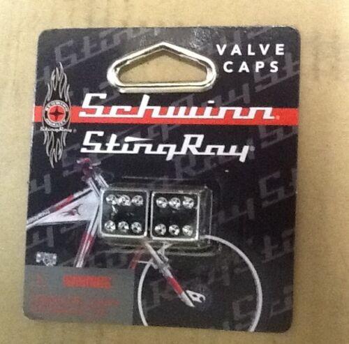 Schwinn Stingray Orange County Chopper bmx valve caps Dice NOS Chrome Bicycle