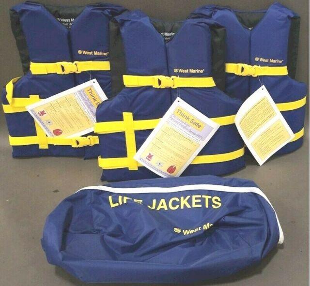 SEACHOICE 4 PACK TYPE II YELLOW LIFE JACKET VEST W//WHISTLE /& STORAGE BAG USCG