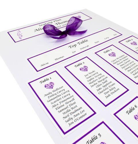 Personnalisé A3 Table De Mariage plan//Assise Plan-beaucoup de couleurs disponibles