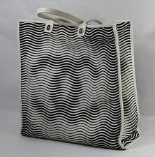 Chanel Canvas Moire Pattern Large Tote Shopper Bag C0200 White NSZ Made in Italy
