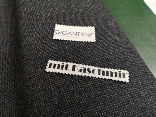 1A Ware 65/%SW 30/%Kaschmir 5/%Pes Meterware Wollstoff Anzug Jacke aus Italien