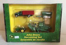 John Deere Harvesting Set w/ 95 Combine 2510 Tractor Wagon & Truck NIB ERTL 1/64