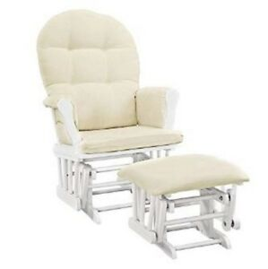 Outstanding Details About Baby Rocker Glider Nursery Rocking Chair And Nursing Ottoman Stool Beige White Ncnpc Chair Design For Home Ncnpcorg