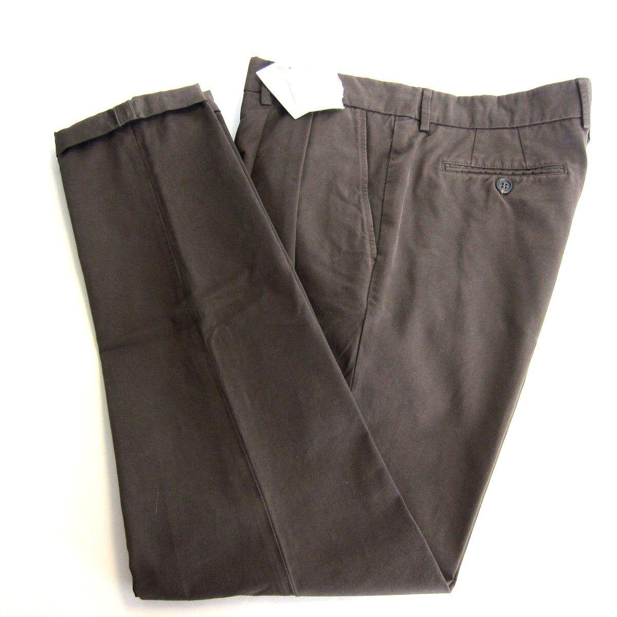J-957138 New Brunello Cucinelli Brown Zip Front Gabardine Pants Size 54x33