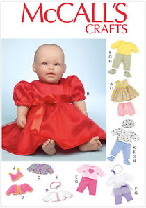 McCall-039-s-7066-Sewing-Pattern-to-MAKE-2-Sizes-Doll-Clothes-Zapf-Reborn-Pre-Baby