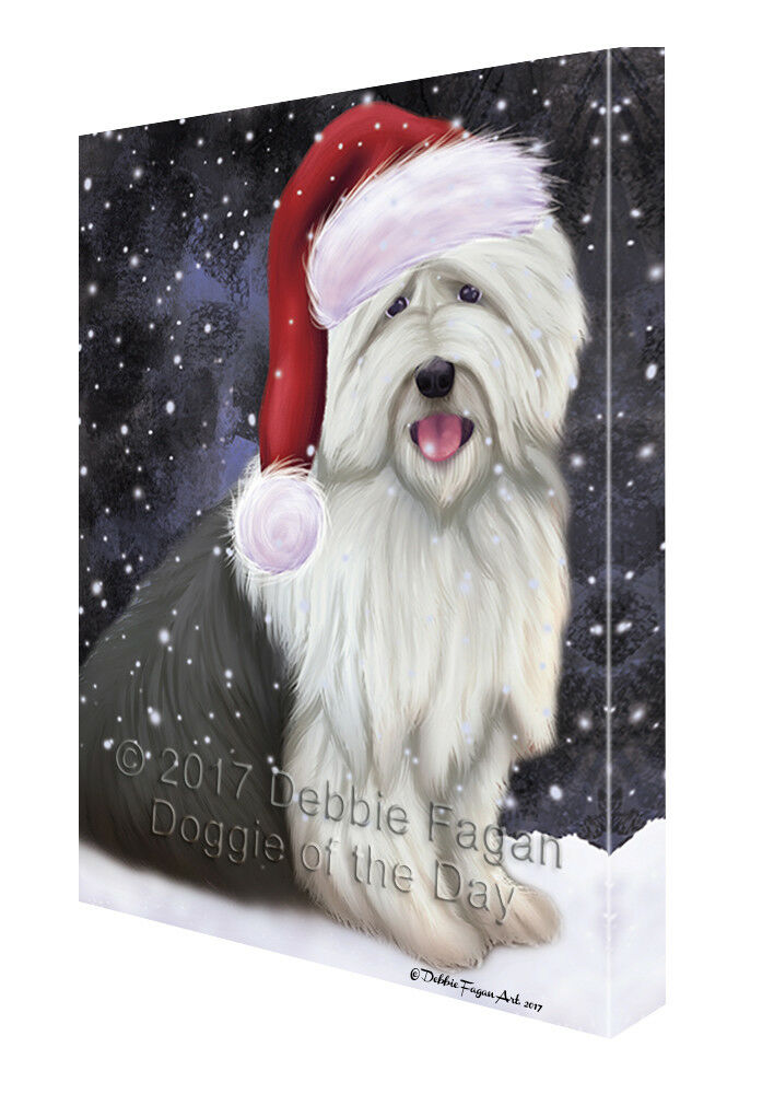Let it Snow Christmas Holiday Old English Sheepdog Dog Canvas Wall Art T236