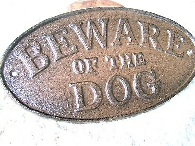 Cast Iron BEWARE OF DOG Oval Plaque Sign Rustic Ranch Wall Decor Kennel