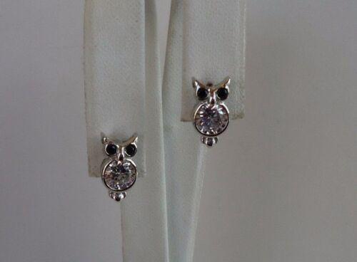18MM BY 7MM 925 STERLING SILVER OWL STUD EARRINGS W// 2.20 CT LAB DIAMONDS