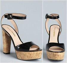NEW! Pour La Victoire 8.5 M Nasha Black Heels Shoes Plateau Patent Leather Cork