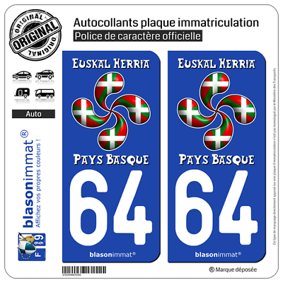 Lauburu Drapé 64 Pays Basque Honest 2 Sticker Autocollant Plaque Immatriculation