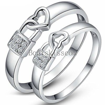 Silver Tone CZ Lock & Love Heart Lovers Engagement Promise Ring Wedding Band