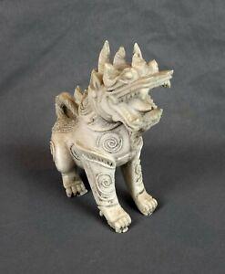 "Vintage Porcelain Khmer Foo Dog Lion Singha Dragon Statue 5"" Tall White"