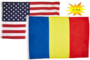 3x5 3'x5' Wholesale Set 2 Pack USA American /& Spain Country Flag Banner