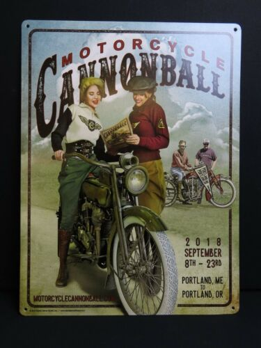 Limited Edition 2018 Motorcycle Cannonball Metal Tin Sign Vintage Antique Cycle