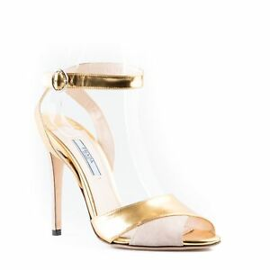 894ed285ba Image is loading Prada-Metallic-Leather-and-Suede-Ankle-Strap-Sandals-