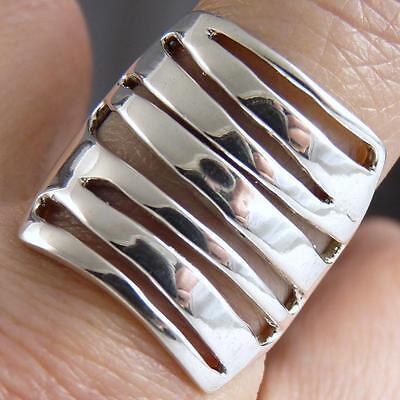 US 7 1/4 ~ 'Fixed Jali Stack' ~ SILVERSARI Art Ring ~ 925 Sterling Silver