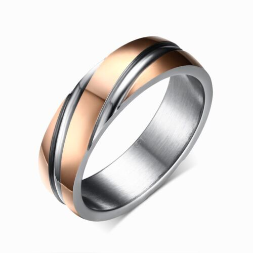6mm Rose Gold /& Silver Twill Band Women Men/'s Wedding Engagement Ring Size 5-13