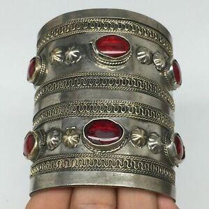 83-2g-Turkmen-Bracelet-Cuff-Old-Vintage-Tribal-Carnelian-Inlay-Statement-TN540