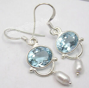925-Solid-Silver-Amazing-BLUE-TOPAZ-Earrings-1-5-034-Collectible-Jewellery