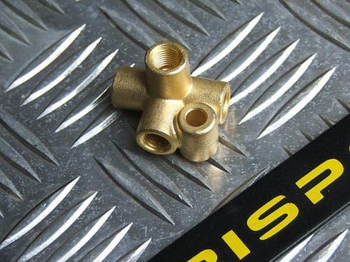 Female brass 4 way joiner brake fitting 3//8 x 24 UNF