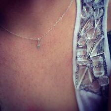 Tiny, Petite, Small Sterling Silver Lightening Bolt Necklace/Choker, Celebrity