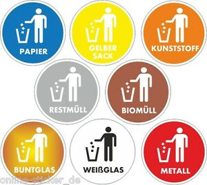 Details Zu Aufkleber 8stück Set Mülleimer Mülltonne Afball Recycling Mülltrennung 50mm 5099